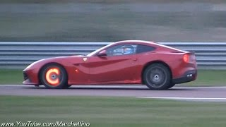 Ferrari F12 Berlinetta HOT Glowing Brakes & Flames!