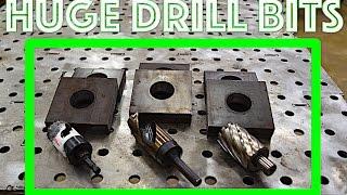 "Drill big holes in 1"" thick steel - Fastest way? - Iron - Metal - Aluminum - Large Drill Press"