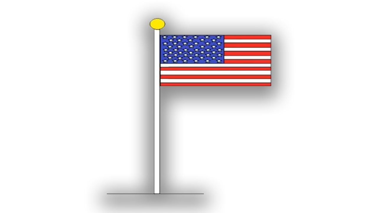 Draw American Flag Step By Step In Ms Paint Youtube