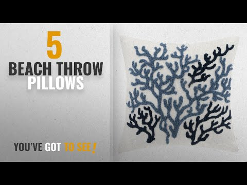 Top 10 Beach Throw Pillows [2018]: Harbor House Beach House 18-by-18-Inch Square Decorative Pillow,