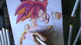 [DBZ] How to draw Goku Super Saiyan God / Comment dessiner Goku