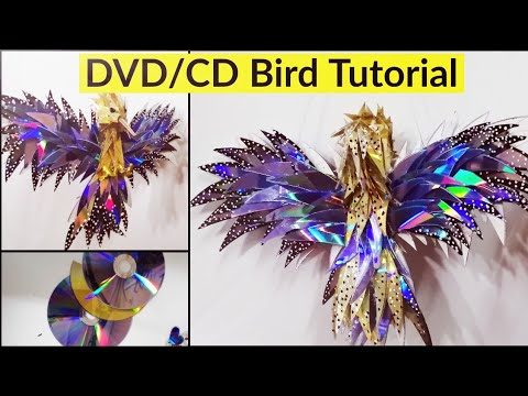 #wallhangingcraftideas #cdcraftideas #DIYroomdecor Old CD Wall Hanging Craft Ideas  DVD BirdTutorial