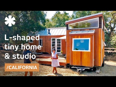 Vina Lustado's home-office using 2 tiny houses in 'L' + deck