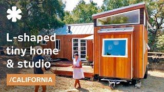 "Vina Lustado's Home-office Using 2 Tiny Houses In ""l"" + Deck"