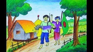How to draw Freedom Fighters of Bangladesh, Liberation war scenery Drawing