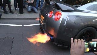 5X LOUD Nissan GTR's - Flames & Loud Exhaust Sounds!!