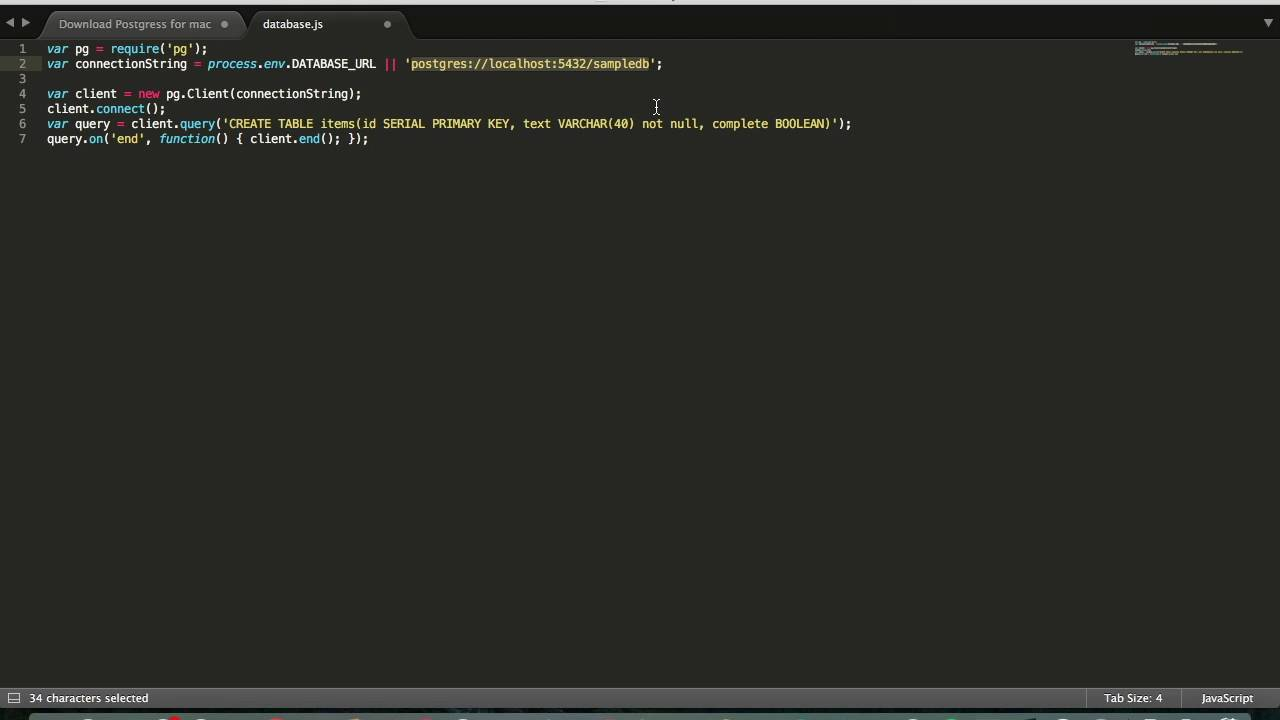 Nodejs tutorial 2 set up postgressql with node js on macwindows nodejs tutorial 2 set up postgressql with node js on macwindows youtube baditri Image collections