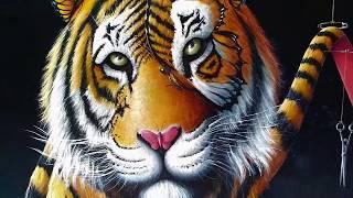 Pintura Surreal Em Óleo Sobre Tela Tigre