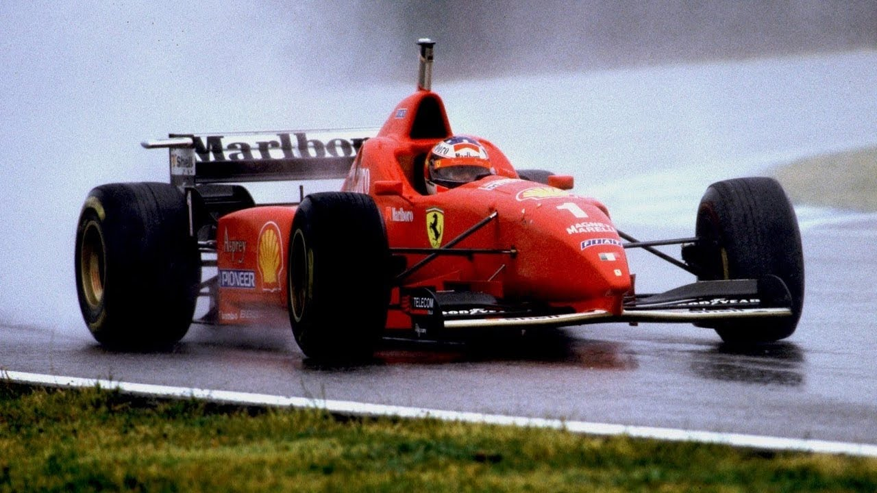 hight resolution of f1 1996 michael schumacher amazing spain grand prix in the rain formula one highlights