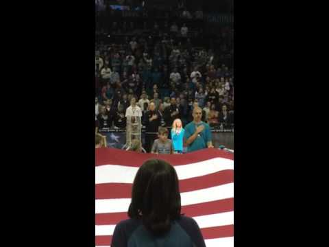 Macey Timmerman sings the National Anthem