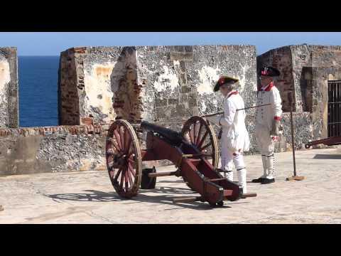 Spanish re-enactors firing a canon in Castillo San Felipe del Morro, San Juan, Puerto Rico