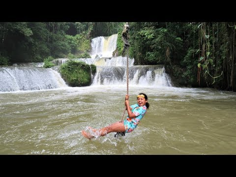 WATERFALL ROPE SWING - Kids Family Fun In Jamaica!