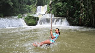 SCARY WATERFALL ROPE SWING - Kids Family Fun In Jamaica!
