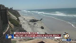 Military helicopter lands in Solana Beach