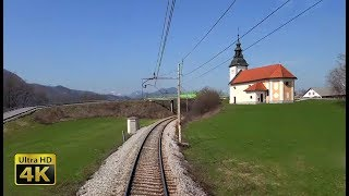4K CABVIEW Ljubljana - Jesenice -- 2 locomotives - 1800t iron ore train