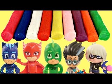 Thumbnail: PJ MASKS Headquarters Learn Colors Play-doh Dough, Catboy Owlette Gekko Romeo In Real Life IRL Toys