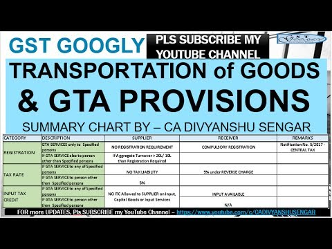 GST TRANSPORTATION of GOODS - GTA PROVISIONS - SUMMARY CHART  in just 10 minutes Explained in HINDI*