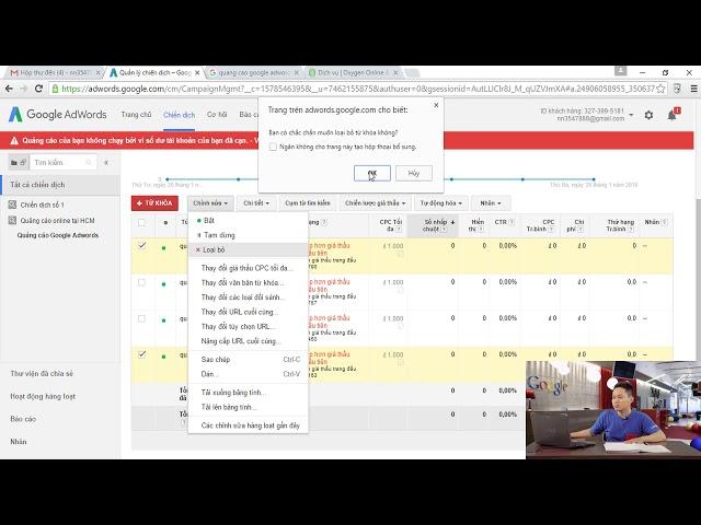[paroza] Bài 16 – Chỉnh sửa cài đặt quảng cáo Google Adwords đã cài đặt.