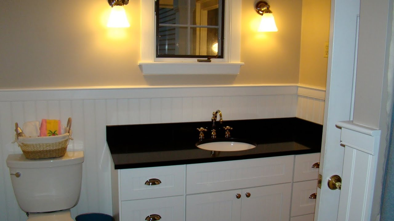 Beau White Bathroom Vanity With Black Granite Top