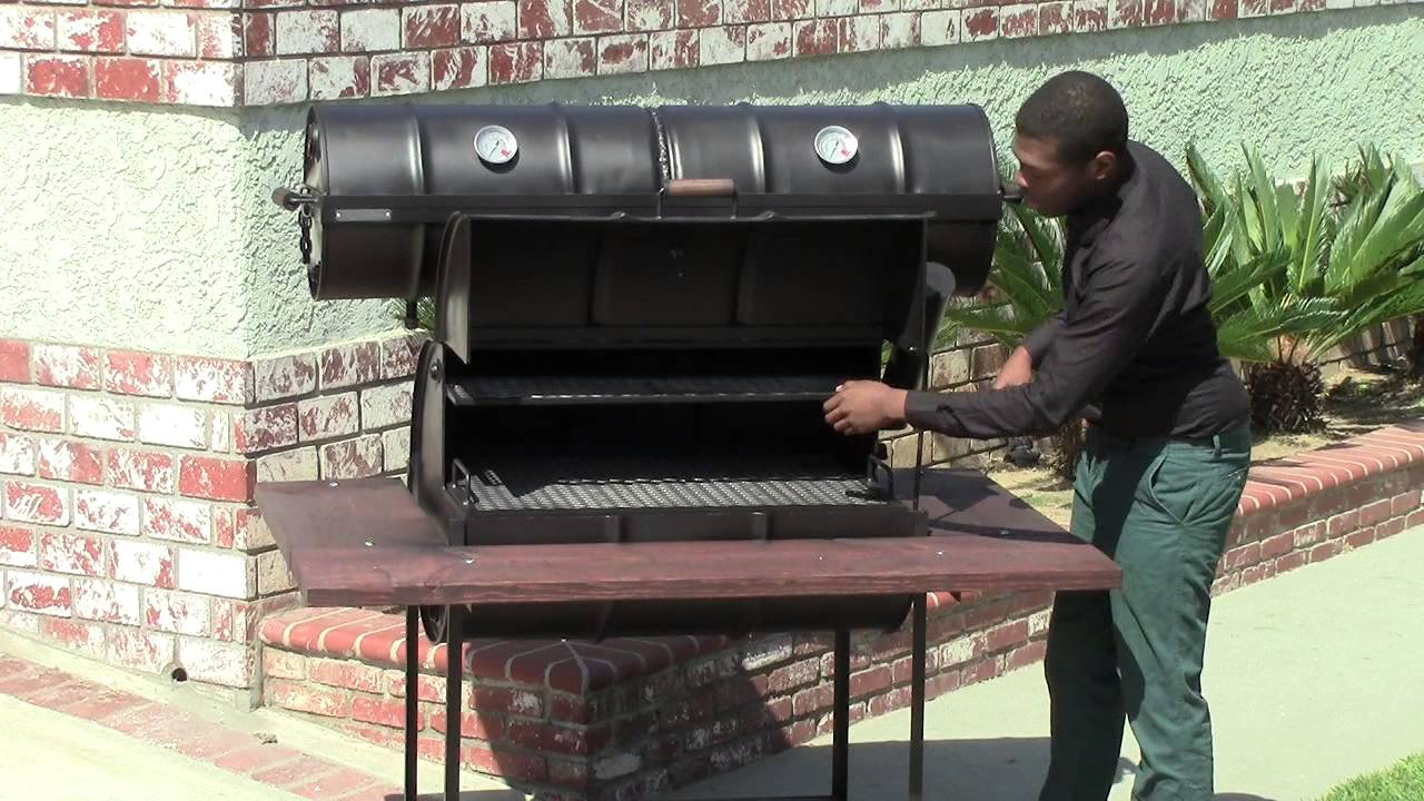 55 Gallon Barrel Barbecue Grill With Smoker On Top