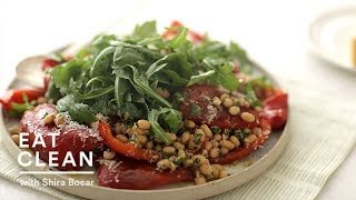 Roasted Red Pepper Salad With Anchovy White Beans - Eat Clean With Shira Bocar