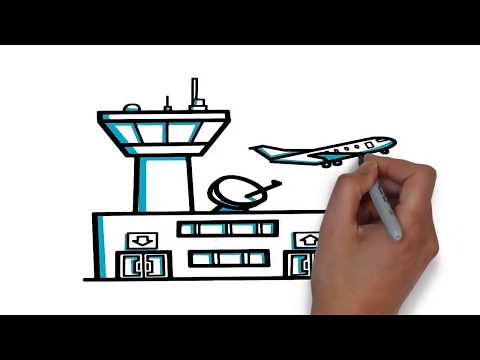How To Draw A Airport Step By Step Drawing Tutorial For Kids