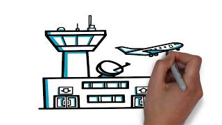 How to Draw a Airport step by step| Drawing tutorial for Kids