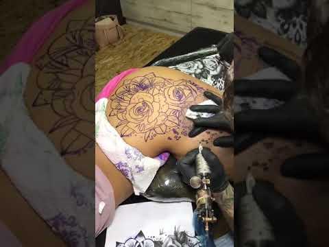 Rose & mandala hip tattoo time lapse