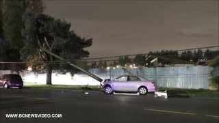 Car Crash Hit Power Pole On Kingsway Ave October 31 2014 Port Coquitlam B.C. Canada