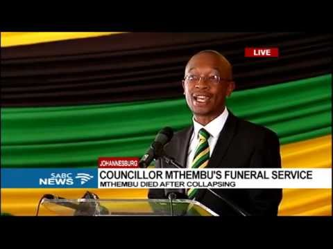 Parks Tau addresses mourners at Mthembu's funeral