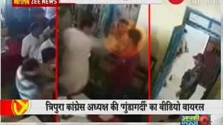 Tripura Congress President Pradyot Deb slaps a man inside Khowai police station