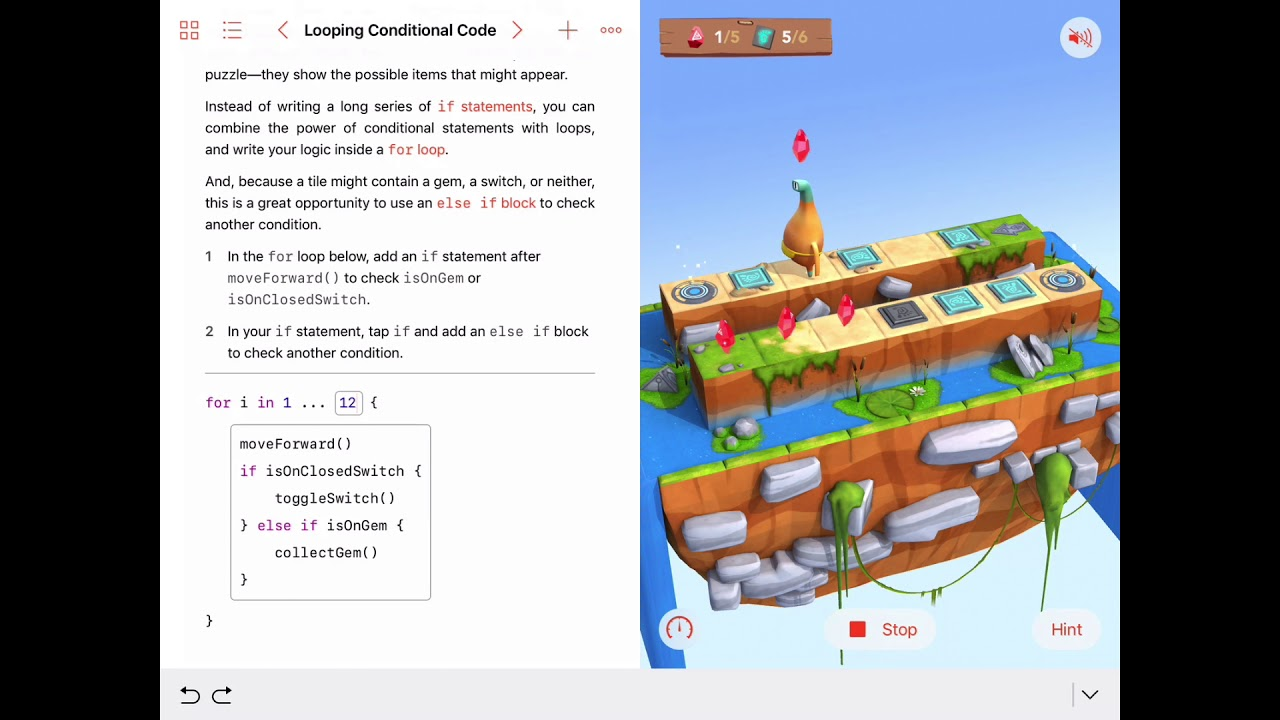 Looping Conditional Code in Swift Playgrounds