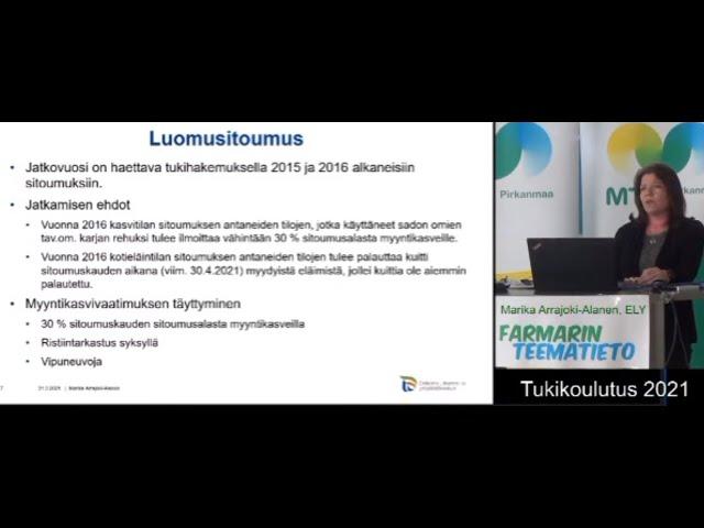 Farmarin Teematiedon Tukikoulutus 2021 luomusitoumukset jne