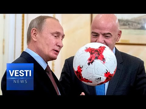 100 Kicks to Begin 100 Day Countdown to Russian World Cup: Putin Throws Ball to FIFA President
