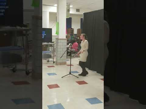 Gabby singing wins the middle school karaoke contest singing Christina Perry
