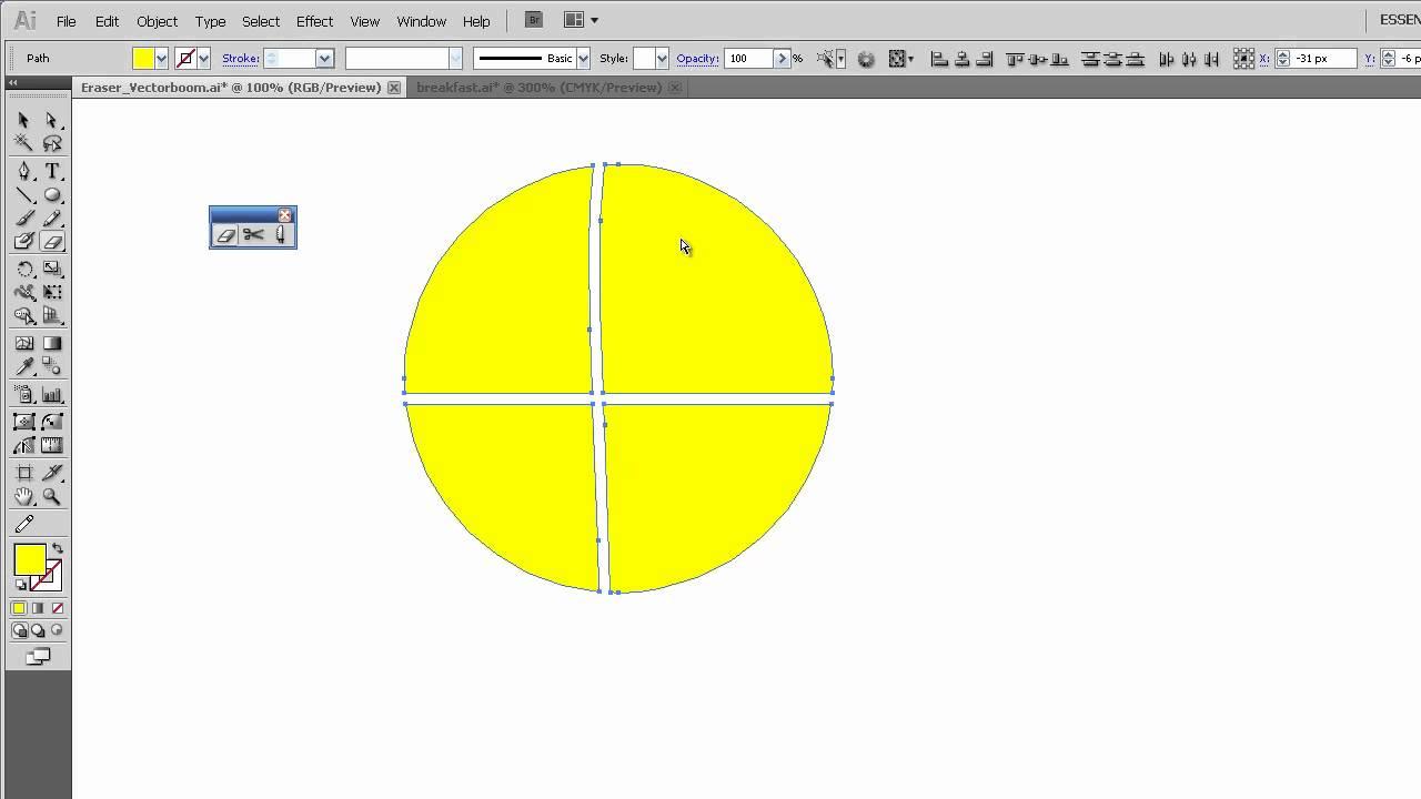 Illustrator Tutorial: Properties of the Eraser Tool - Illustrator ...
