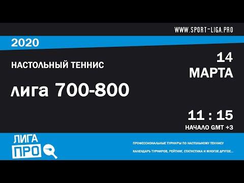 Настольный теннис. Лига Про. Турнир 14 марта 2020г. Муж. Рейтинг 700-800