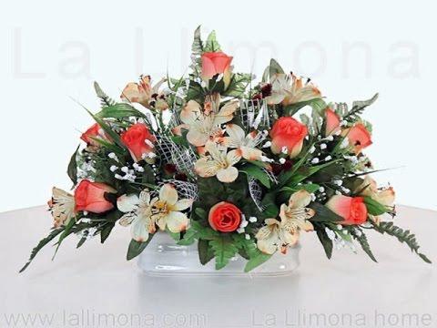 Arreglos floreales Jardinera cermica flores artificiales