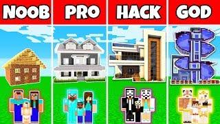 Minecraft : FAMILY LUXURY MODERN MANSION BUILD CHALLENGE - NOOB vs PRO vs HACKER vs GOD in Minecraft