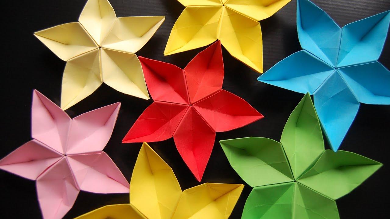 折纸五瓣花步骤图解_折纸五瓣花 如何折五瓣花 折纸花视频教程 原始版无加速 - YouTube