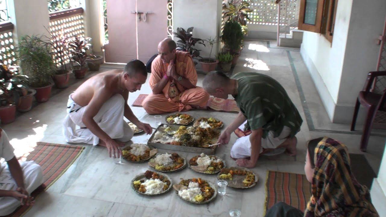 Serving maha prasadam,Sri Mayapur dhama