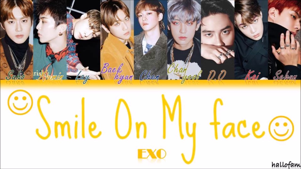 Exo 엑소 여기 있을게 Smile On My Face Han Rom Indo Color