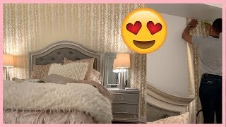 MY GLAM BEDROOM DECOR REVEAL! DECORATE WITH ME!