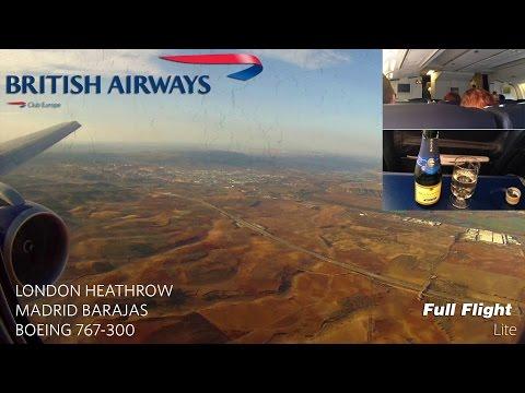 British Airways Boeing 767  Full Flight:  London to Madrid (Club Europe) *WITH ATC*