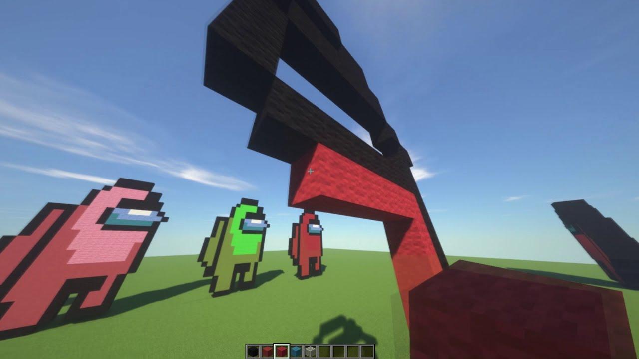 Minecraft Pixel Art Tutorials - AMONG US (with just 236 blocks, part 1)