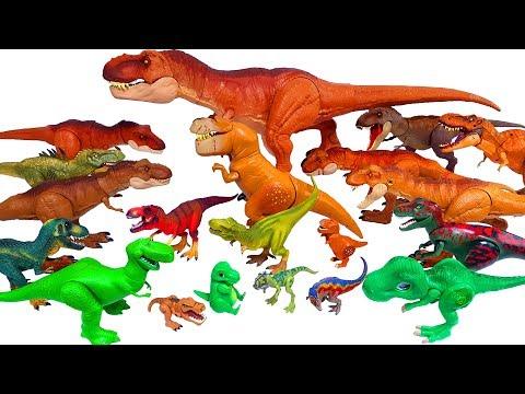 Lots of dinosaurs, Jurassic World Tyrannosaurus T-rex schleich dinosaur toys 공룡 티라노 티렉스 장난감