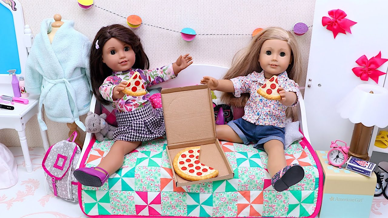 AG friends dolls fun Story about slumber party routine with pizza dinner