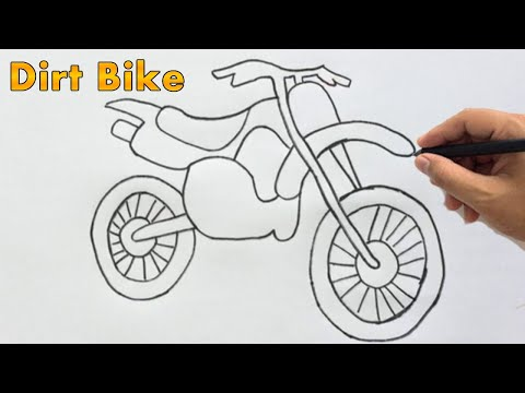 How To Draw A Dirt Bike Drawing Easy Outline Motocross Bike Sketch Step By Step Youtube