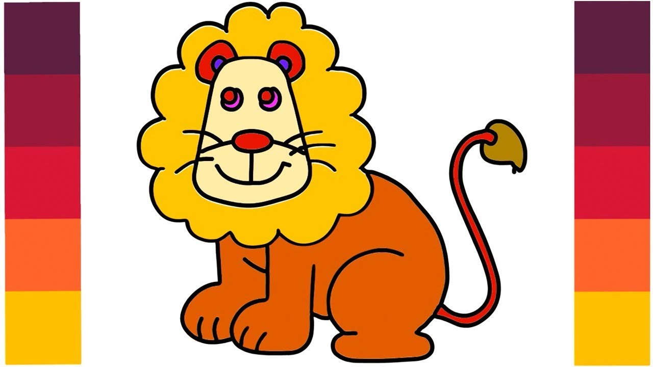 How To Draw Cartoon Lion King Coloring Lion Learn Step By Step