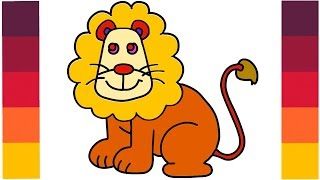 How to Draw Cartoon Lion King    Coloring Lion Learn Step by Step    Little Channel    Lion for Kids